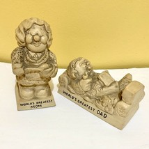 Vintage Worlds Greatest Mom Dad Figurine Statue American Greetings Made In USA - $20.36