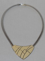 Vintage Trifari Art Deco Cream and Silver Bib Choker Necklace (18 in) - $36.00