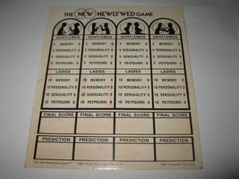 Vintage The Newlywed Game Board Game Piece: Score Card - $2.00