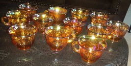 Carnival Glass Gold punch glasses, amber,marigold, Indiana,leaves SET OF 12 - $40.00
