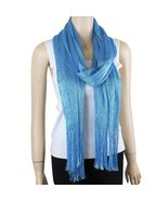 Shimmer and Shine Fringed Scarf, Turquoise - $8.99