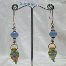 Sale! Periwinkle Blue Pink Blue Floral Lampwork Crystal Copper Dangle Earrings  - $15.99