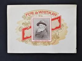 """Antique Flor De Whitman Cigar Box Label 6""""x8.5"""" - $28.95"""