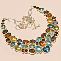82 GRAMS BLUE TOPAZ,SMOKY,CITRINE,GARNET CUT.925 SILVER NECKLACE SS-201 - $27.96