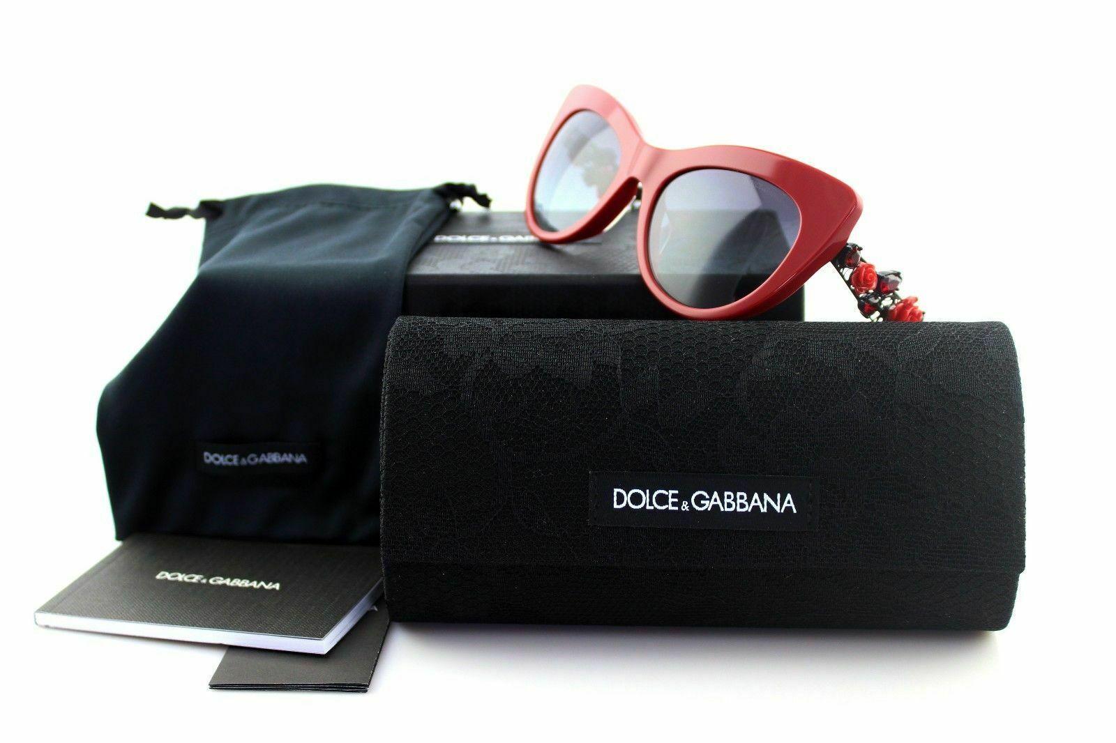 Dolce & Gabbana Metal FLOWER LACE Red Ruthenium Cat Eye Sunglasses DG4302B