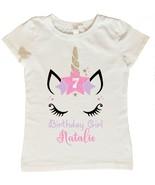 Unicorn Birthday Shirt, Custom Unicorn Birthday Shirt, Personalized Unic... - $15.95