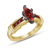 Engagement Ring For Girl Red Garnet Gold Finish 925 Pure Sterling Silver... - $66.20