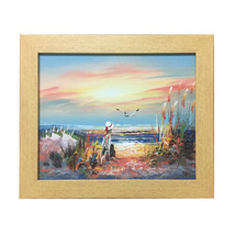 Pure handmade oil painting, The girl looked at the sea alone and thought - $23.99