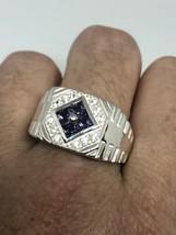 Vintage Blue And White Sapphire Ring 925 Sterling Silver Cocktail Size 11 - $133.65