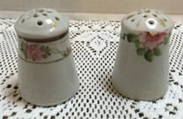 Vintage Mismatched Porcelain Salt & Pepper Shakers Hand Painted Cork Stoppers - $8.50