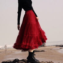 Burgundy Midi Puffy Tutu Skirt Burgundy High Waisted Layered Tulle Skirt Plus  image 10