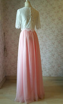 High Waisted Long Tulle Skirt Bridesmaid Outfit Tutu Skirt,Blush Pink (US0-US28) image 5