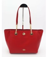 NWT Coach Turn-Lock 27 Chain Red Polished Pebble Leather Tote Shoulder Bag 57107 - $195.00