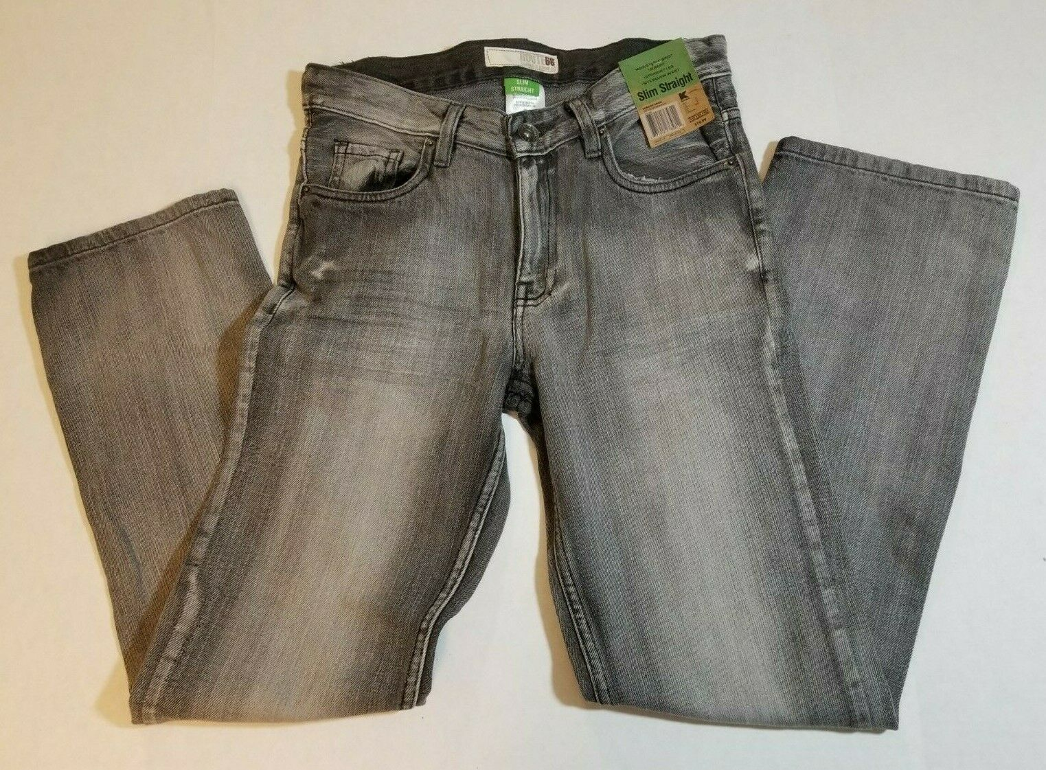 NWT Route 66 Boys Youth Slim Straight Jeans Size 12 Black Denim Pants image 2