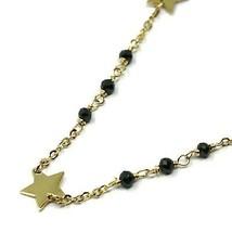 18K YELLOW GOLD BRACELET, FACETED BLACK SPINEL, FLAT STARS, ROLO CHAIN ALTERNATE image 2