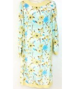 VTG Lihli New York Dress Beige Blue Floral Print Silk Size 8 Retro Long ... - $49.49