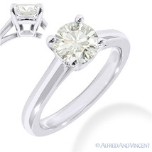 Round Brilliant Cut Moissanite 14k White Gold 4-Prong Solitaire Engageme... - £405.67 GBP+