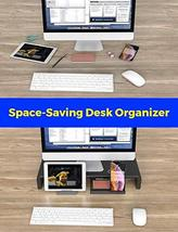 Foldable Monitor Stand Riser, Computer Laptop Riser Shelf with Organizer Drawer, image 2