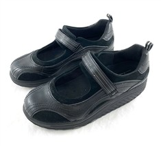 Skechers Shape-Ups Black Leather Mary Janes Walking Toning Shoes Womens 10 - $39.47