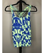Calvin Klein Women's M Blue Yellow Spaghetti Strap Exercise Top Cotton S... - $23.09