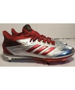 Adidas Adizero Afterburner 4 Red Silver Mens Baseball Cleats BY3676 Size 14 - $46.75