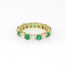 Handmade 18k yellow Gold Emerald and Diamond Eternity Ring 2.89 Carat Si... - $4,999.00