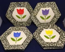 Set of 7 Tulip Spongeware Plates Hexagonal Handpainted Ceramic Vintage - $29.69