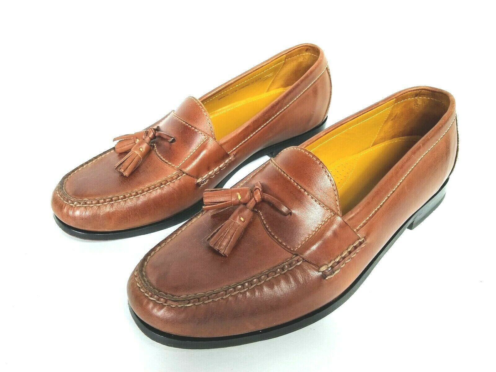 Cole Haan Men's Brown Leather Slip On Dress Pinch Tassel Loafer Sze 12 Air Sole  image 6
