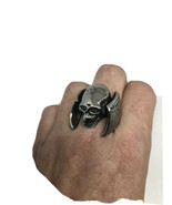 Vintage Mens Winged Skull Biker Ring Silver Stainless Steel Size 12 - $34.65
