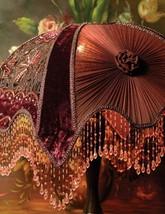Victorian Portobello  Embroidered Velvet Burgundy Lamp Shade,12'' x 17''. - $173.25
