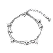 Lokaer Stars Charm Double Layers Bracelet Bangle For Women Stainless Steel Exten - $10.32