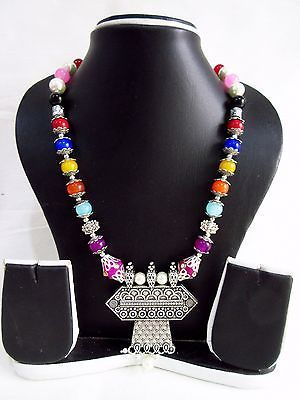 Indian Bollywood Pearls Necklace Oxidized Pendant Women's Fashion Jewelry image 7
