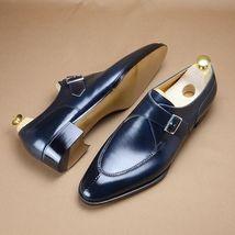 Handmade Men's Blue Monk Strap Formal Dress Shoes image 3
