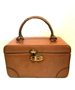 Vintage Leather Train Travel Cosmetic Case Antique Luggage Suitcase 10 i... - $77.22