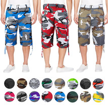Men's Tactical Military Army Camo Camouflage Slim Fit Cargo Shorts With Belt
