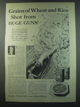1930 Quaker Puffed Rice and Puffed Wheat Ad - Grains of wheat and rice - $14.99