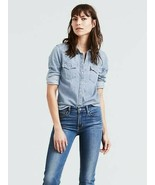 Levi's Ultimate Western Light Wash Denim Shirt Pearl Snap Button Women S... - $48.99