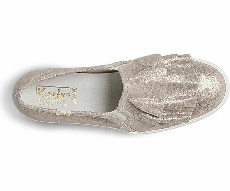 Keds WH58506  Women's Triple Ruffle Glitter Suede Champagne shoe, 10 Med