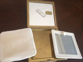 FABULOUS Vintage collectible gold tone metal mirror/powder/makeup case w... - $1,611.21