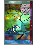 Stained Glass Window Panel • Wave Tree Moonlight Hawaii Turquoise Surf A... - $197.00