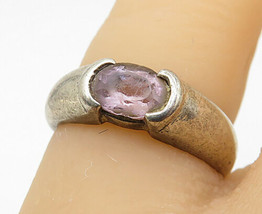 925 Sterling Silver - Vintage Faceted Amethyst Solitaire Ring Sz 5 - R8762 - $23.45