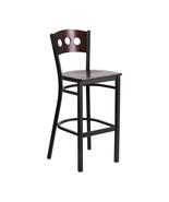 Offex Black Decorative Metal Restaurant Barstool - Walnut Wood Back and ... - $104.32