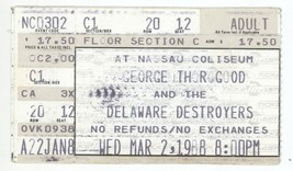 RARE George Thorogood 3/2/88 Long Island NY Nassau Col Concert Ticket Stub! - $2.96