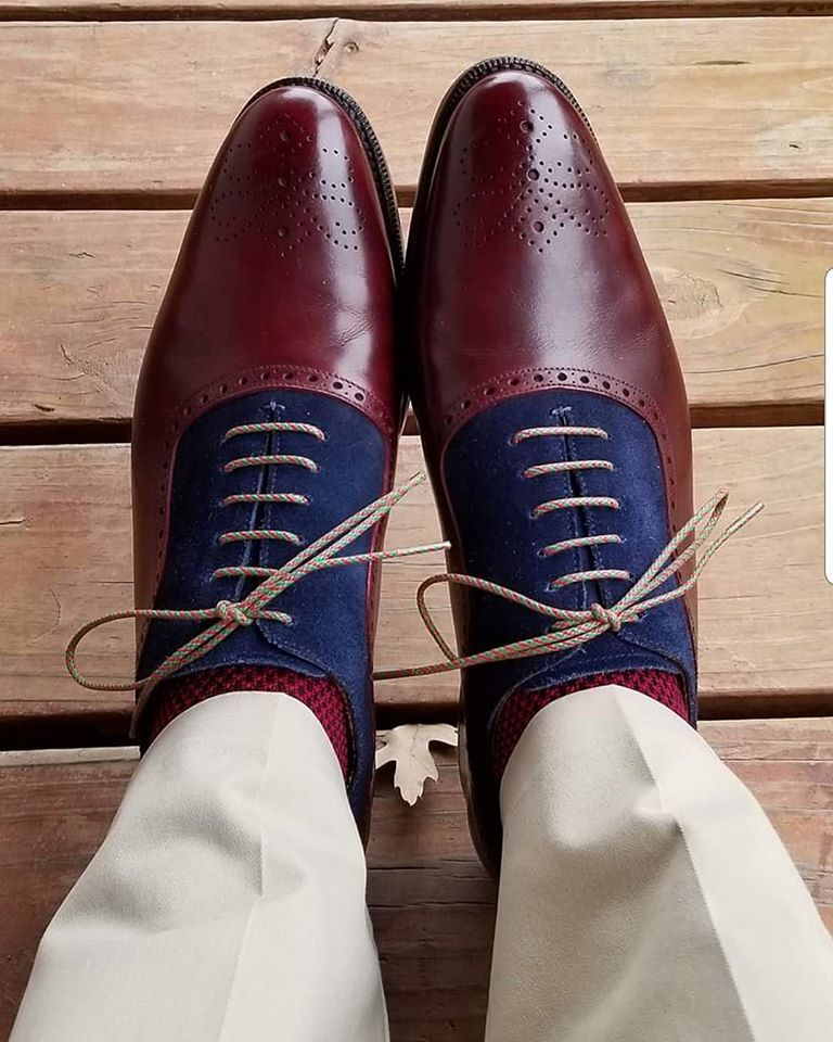 Handmade Men's Burgundy Leather & Blue Suede Brogues High Ankle Lace Up Boots