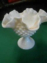 "Beautiful  Vintage FENTON Hobnail Ruffled Edge Milk Glass  COMPOTE  5.5"" - $15.43"