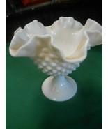"Beautiful  Vintage FENTON Hobnail Ruffled Edge Milk Glass  COMPOTE  5.5"" - $15.43"