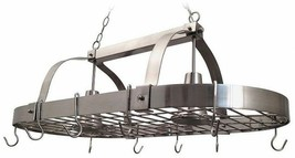 Kitchen Pot Rack Lights Storage 2-Light Hooks Chain Hanging Brushed Nickel - $125.99