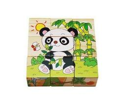 Simple Wood Building Blocks for Infant and Toddle, 9 Pcs Panda Puzzle Blocks