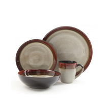 Gibson Couture Bands 16pc Dinnerware Set- Cream with Red Rim MEGA-91228.16 - $94.38