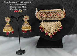 Triangle shape choker necklace earrigs jewelry bridal rajasthani abhushan j1090 - $72.26